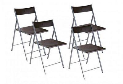 WHITE LABEL - Chaise pliante-WHITE LABEL-BELFORT Lot de 4 chaises pliantes marron