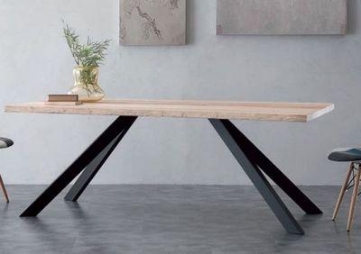 WHITE LABEL - Table de repas rectangulaire-WHITE LABEL-Table repas BIO METAL en bois massif, piétement en