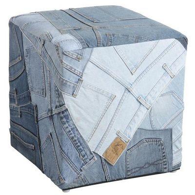 Aubry-Gaspard - Pouf-Aubry-Gaspard-Pouf carré en jeans recyclé