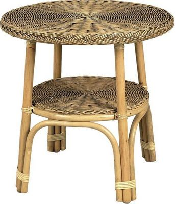 Aubry-Gaspard - Table d'appoint-Aubry-Gaspard-Table ronde en rotin