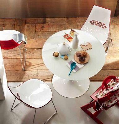 Calligaris - Table de repas ronde-Calligaris-Table repas ronde PLANET 120x120 en verre blanc et