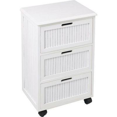 Aubry-Gaspard - Rangement mobile-Aubry-Gaspard-Commode blanche 3 tiroirs