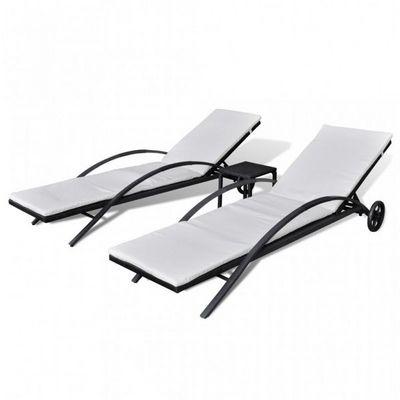 WHITE LABEL - Chaise longue de jardin-WHITE LABEL-Lot de 2 transats de jardin noir + table