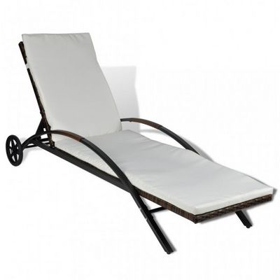 WHITE LABEL - Chaise longue de jardin-WHITE LABEL-Transat de jardin relax marron