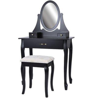 WHITE LABEL - Coiffeuse-WHITE LABEL-Coiffeuse bois noir miroir tabouret