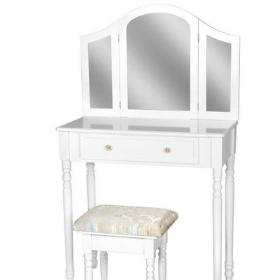 WHITE LABEL - Coiffeuse-WHITE LABEL-Coiffeuse avec miroir + tabouret inclus