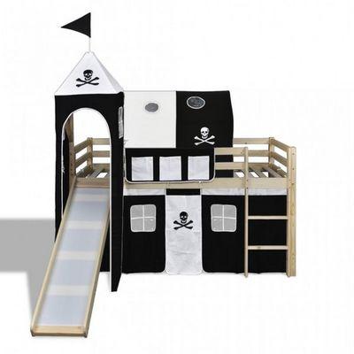 WHITE LABEL - Lit enfant-WHITE LABEL-Lit mezzanine bois avec échelle toboggan et déco noir