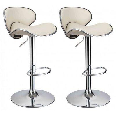 WHITE LABEL - Chaise haute de bar-WHITE LABEL-Lot de 2 Tabourets de bar beige