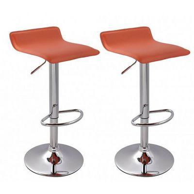 WHITE LABEL - Chaise haute de bar-WHITE LABEL-Lot de 2 Tabourets de bar orange