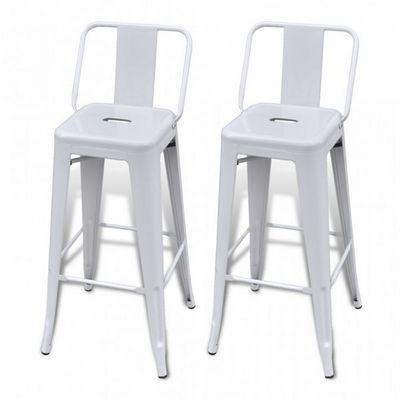 WHITE LABEL - Tabouret de bar-WHITE LABEL-Lot de 2 tabourets de bar en acier blanc