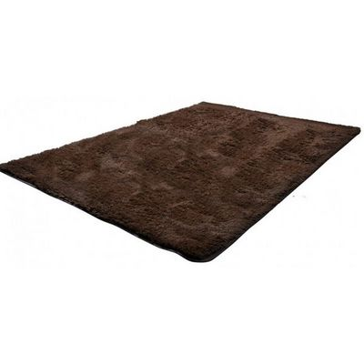 WHITE LABEL - Tapis contemporain-WHITE LABEL-Tapis salon marron poil long taille S