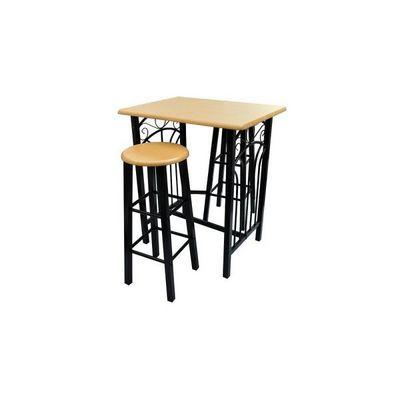 WHITE LABEL - Mange debout-WHITE LABEL-Lot de 2 tabourets de bar + table haute