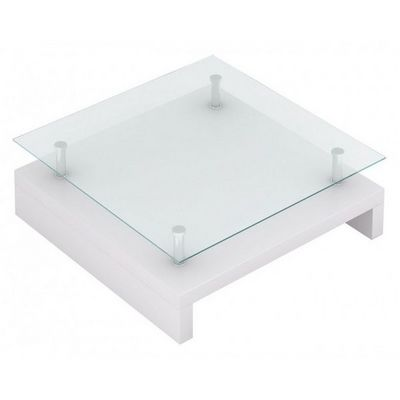 WHITE LABEL - Table basse carrée-WHITE LABEL-Table basse design blanche verre