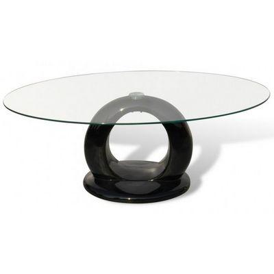 WHITE LABEL - Table basse ronde-WHITE LABEL-Table basse design noir verre