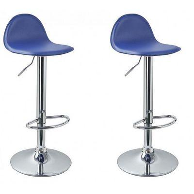 WHITE LABEL - Chaise haute de bar-WHITE LABEL-Lot de 2 Tabourets de bar bleu