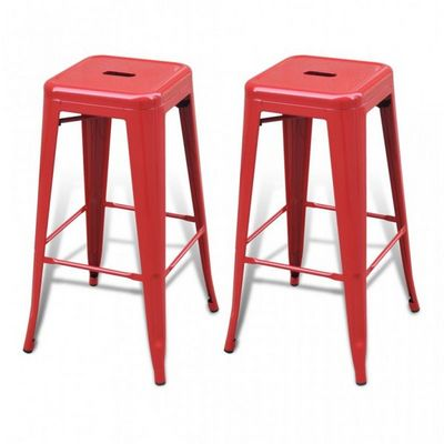WHITE LABEL - Tabouret de bar-WHITE LABEL-Lot de 2 Tabourets de Bar acier factory
