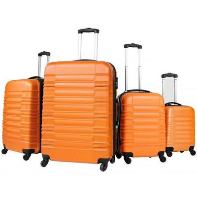 WHITE LABEL - Valise à roulettes-WHITE LABEL-Lot de 4 valises bagage abs orange
