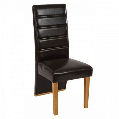 WHITE LABEL - Chaise-WHITE LABEL-Lot de 6 chaises de salle à manger similicuir marron