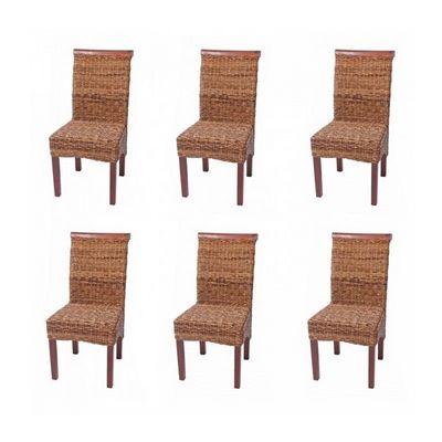 WHITE LABEL - Chaise-WHITE LABEL-Lot de 6 chaises rotin banane tressée