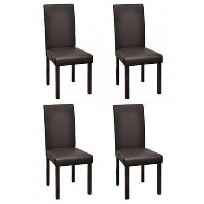 WHITE LABEL - Chaise-WHITE LABEL-4 Chaises de salle a manger marron