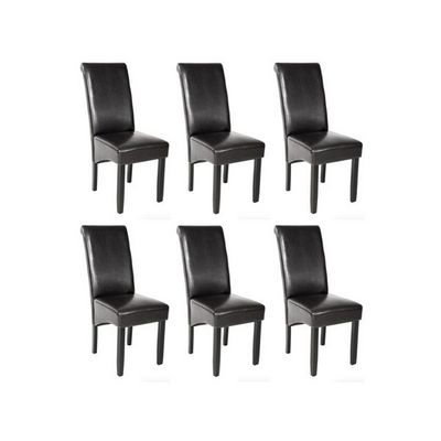 WHITE LABEL - Chaise-WHITE LABEL-6 chaises de salle � manger noir