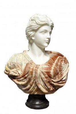 Demeure et Jardin - Buste-Demeure et Jardin-Buste Jeune Femme chevelure retenue marbre blanc e