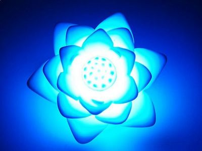 WHITE LABEL - Lampe à poser-WHITE LABEL-Mini lampe LED 7 couleurs lotus   lumineux lumiere