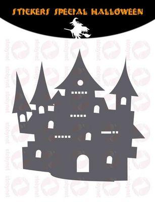 WHITE LABEL - Sticker-WHITE LABEL-Sticker Ch�teau Hant� d'Halloween