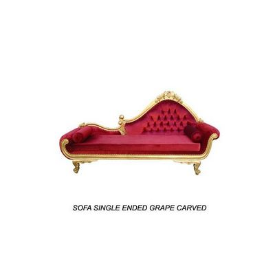 DECO PRIVE - M�ridienne-DECO PRIVE-M�ridienne baroque en bois dor� et velours rouge g