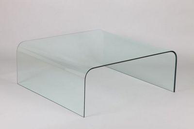 WHITE LABEL - Table basse carrée-WHITE LABEL-Table basse carré CRISTALE en verre
