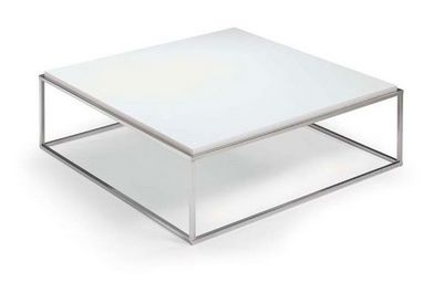 WHITE LABEL - Table basse carrée-WHITE LABEL-Table basse carré MIMI blanche