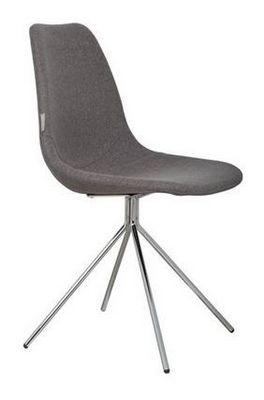 ZUIVER - Chaise-ZUIVER-Chaise Zuiver FOURTEEN grise piétement chromé