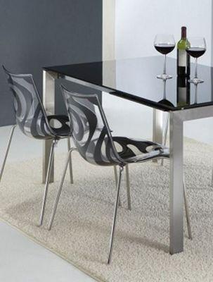 WHITE LABEL - Chaise-WHITE LABEL-Lot de 2 chaises design TRIBAL transparente et ant
