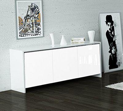 WHITE LABEL - Buffet bas-WHITE LABEL-Buffet BALI blanc avec 3 portes