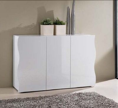 WHITE LABEL - Buffet bas-WHITE LABEL-Buffet ONDA blanc 3 portes