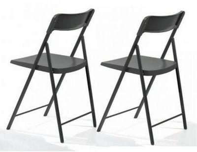 WHITE LABEL - Chaise pliante-WHITE LABEL-Lot de 2 chaises pliantes KULLY gris graphite