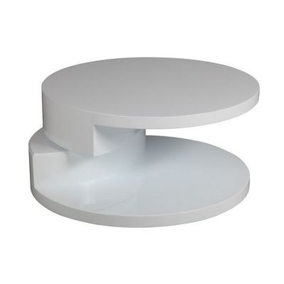 WHITE LABEL - Table basse ronde-WHITE LABEL-Table basse ronde design AZUR blanche