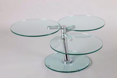 WHITE LABEL - Table basse ronde-WHITE LABEL-Table basse NEMESIS en verre