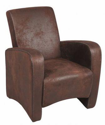 WHITE LABEL - Fauteuil-WHITE LABEL-Petit fauteuil SEATED microfibre marron