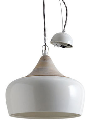 Aubry-Gaspard - Suspension-Aubry-Gaspard-Lampe suspension en métal laqué et bois