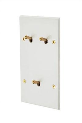 MODELEC - Interrupteur double-MODELEC-Interrupteur façade double verticale à leviers - Blanc émail