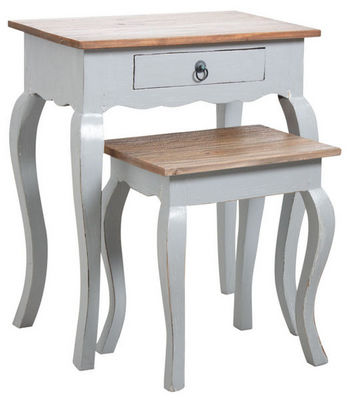 Aubry-Gaspard - Tables gigognes-Aubry-Gaspard-Tables gigognes en bois gris antique