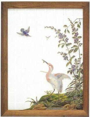 L'Antiquaire du Vitrail - Vitrail-L'Antiquaire du Vitrail-Cigogne et martin-pêcheur