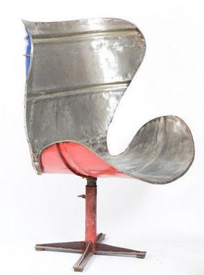 PO ! PARIS - Fauteuil rotatif-PO ! PARIS-Grand fauteuil en métal de récupération