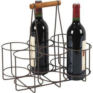 Aubry-Gaspard - panier 6 bouteilles en métal vieilli et bois - Wine Bottle Tote