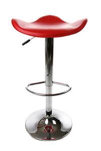 KOKOON DESIGN - tabouret de bar design rond en simili-cuir rouge - Bar Stool