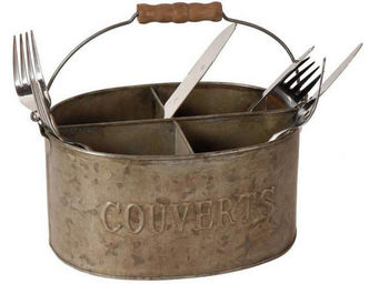 Antic Line Creations - range couverts 4 compartiments en zinc 22,5x15,5x1 - Cutlery Tray