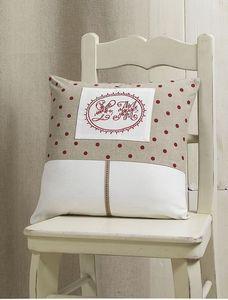 HOMEMAISON.COM - coussin en toile unie avec broderies et imprimés p - Square Cushion