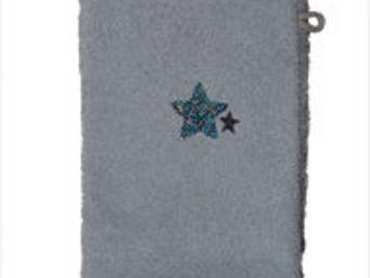 SIRETEX - SENSEI - gant 16x22 brodé 500 gr/m² star gris - Bath Glove