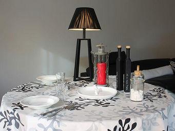FLEUR DE SOLEIL - nappe enduite corail gris 160x160 - Coated Tablecloth
